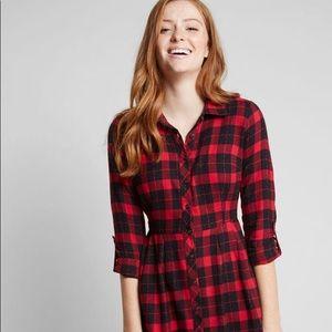 ModCloth Jam, Girl Shirt Dress in Cherry sz M